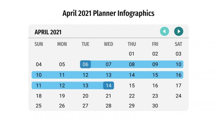 Plantilla de presentación Calendarios infográficos de abril 2021
