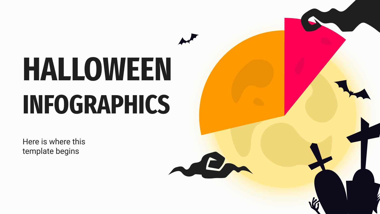 Modelo de apresentação Infográficos de Halloween