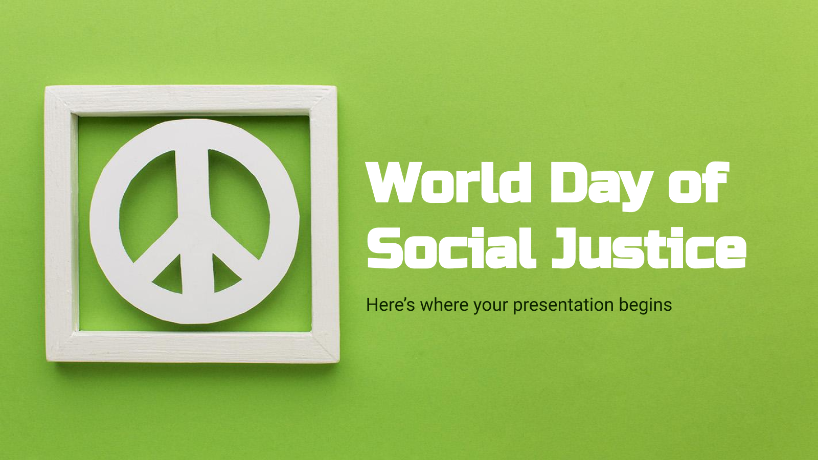 World Day of Social Justice presentation template