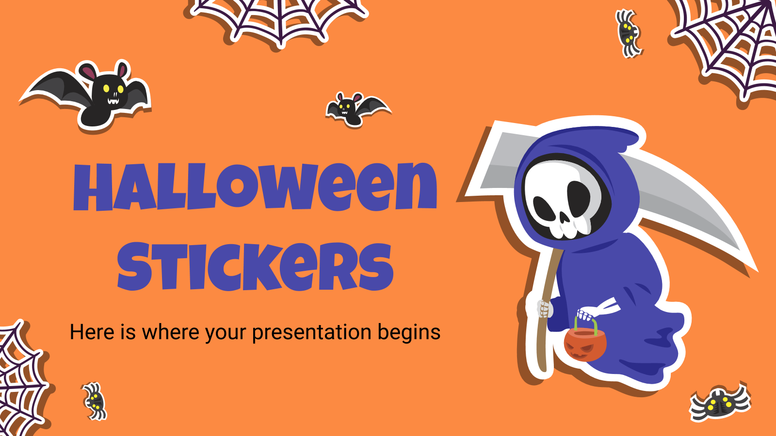 Halloween Stickers Google Slides Theme Powerpoint Template