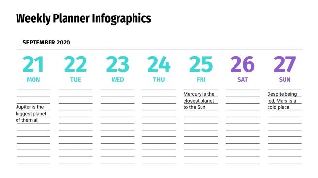 Weekly Planner Infographics presentation template