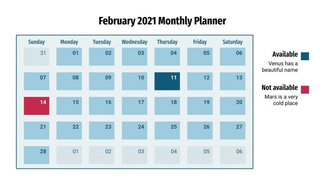 February 2021 Monthly Planner presentation template