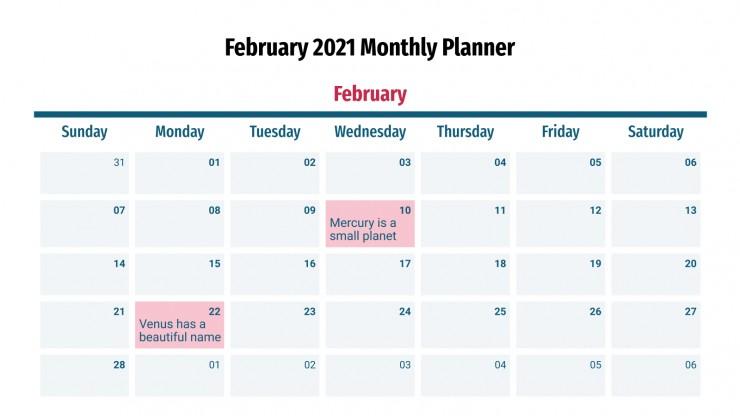 Plantilla de presentación Calendarios infográficos de febrero 2021