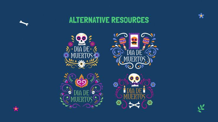 Modelo de apresentação Adesivos do Día de Muertos
