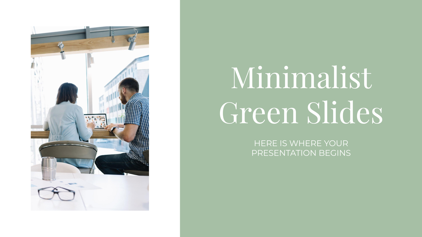 Minimalist Green Slides presentation template