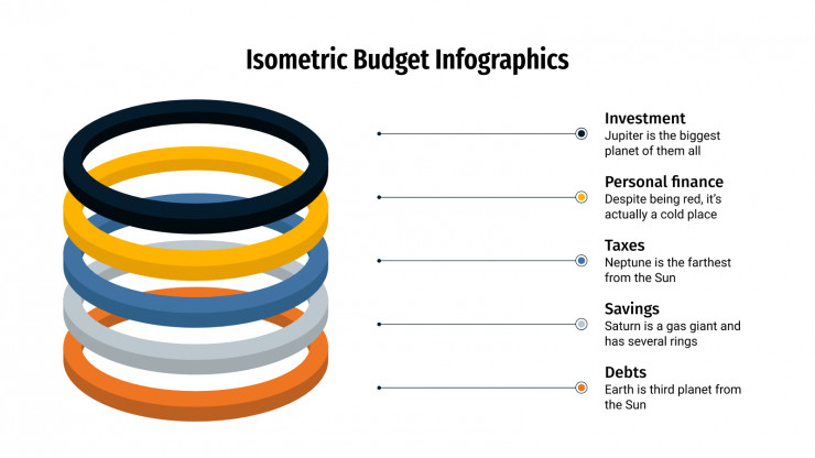 Modelo de apresentação Infográficos de orçamento isométricos