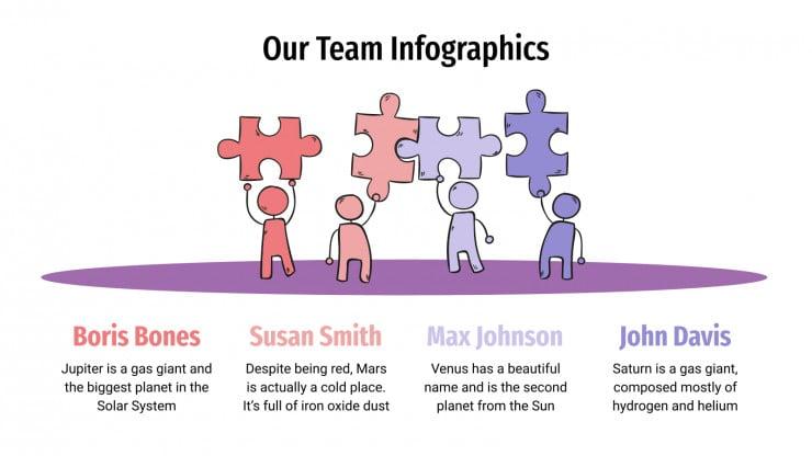 Modelo de apresentação Infográficos sobre a equipe