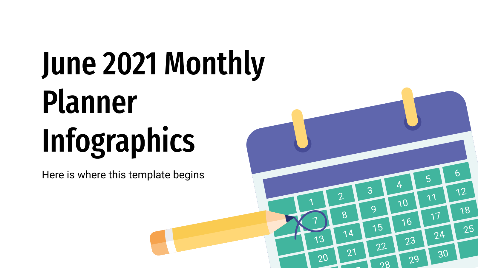 June 2021 Monthly Planner Infographics presentation template