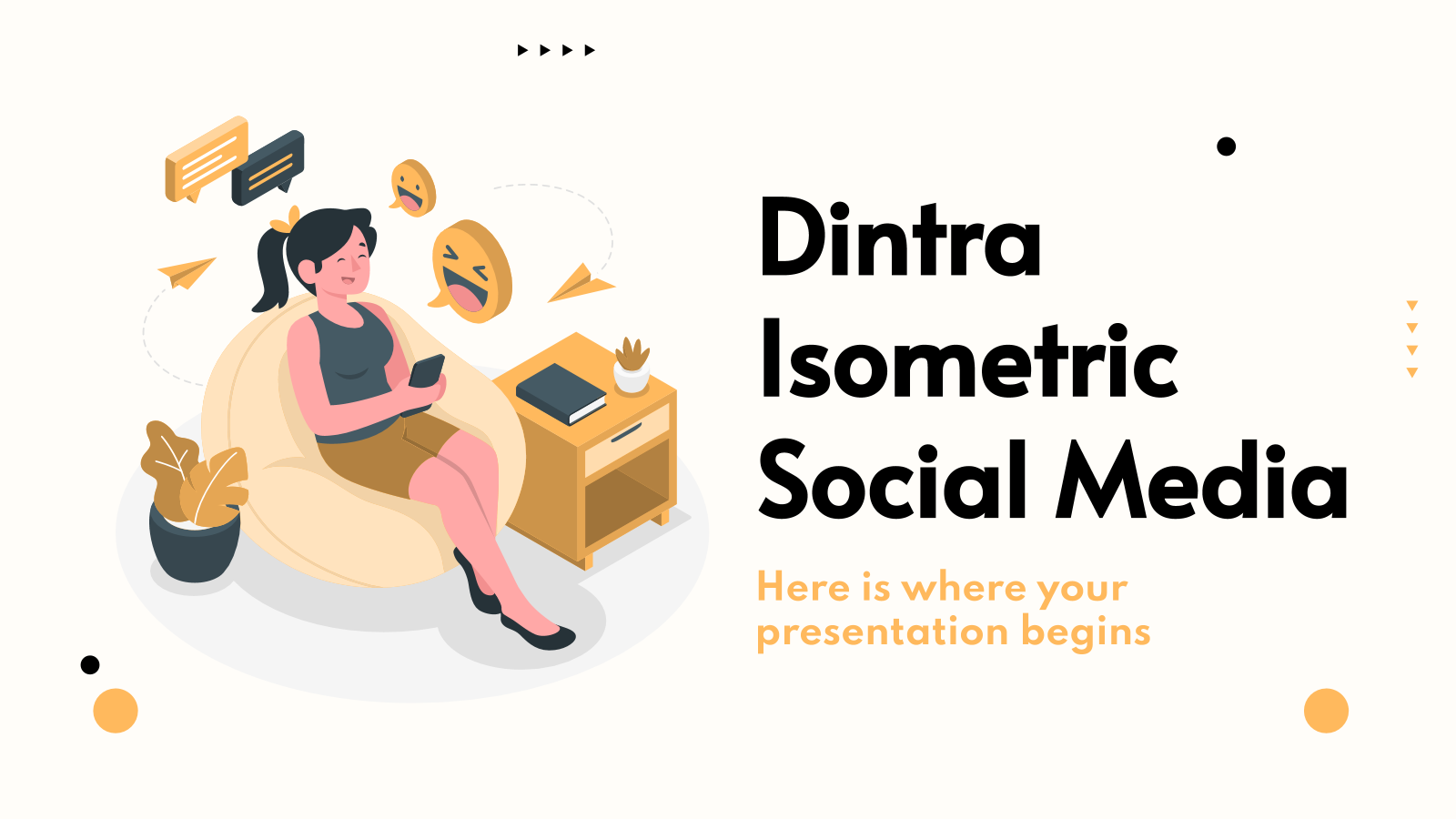 Modelo de apresentação Mídias sociais Dintra isométricas