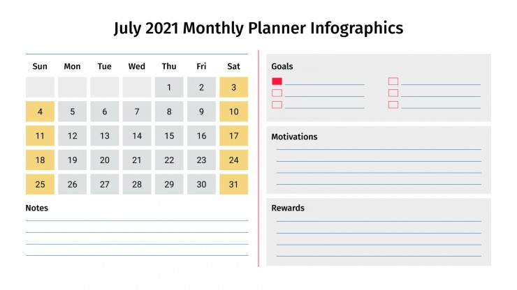July 2021 Monthly Planner Infographics presentation template