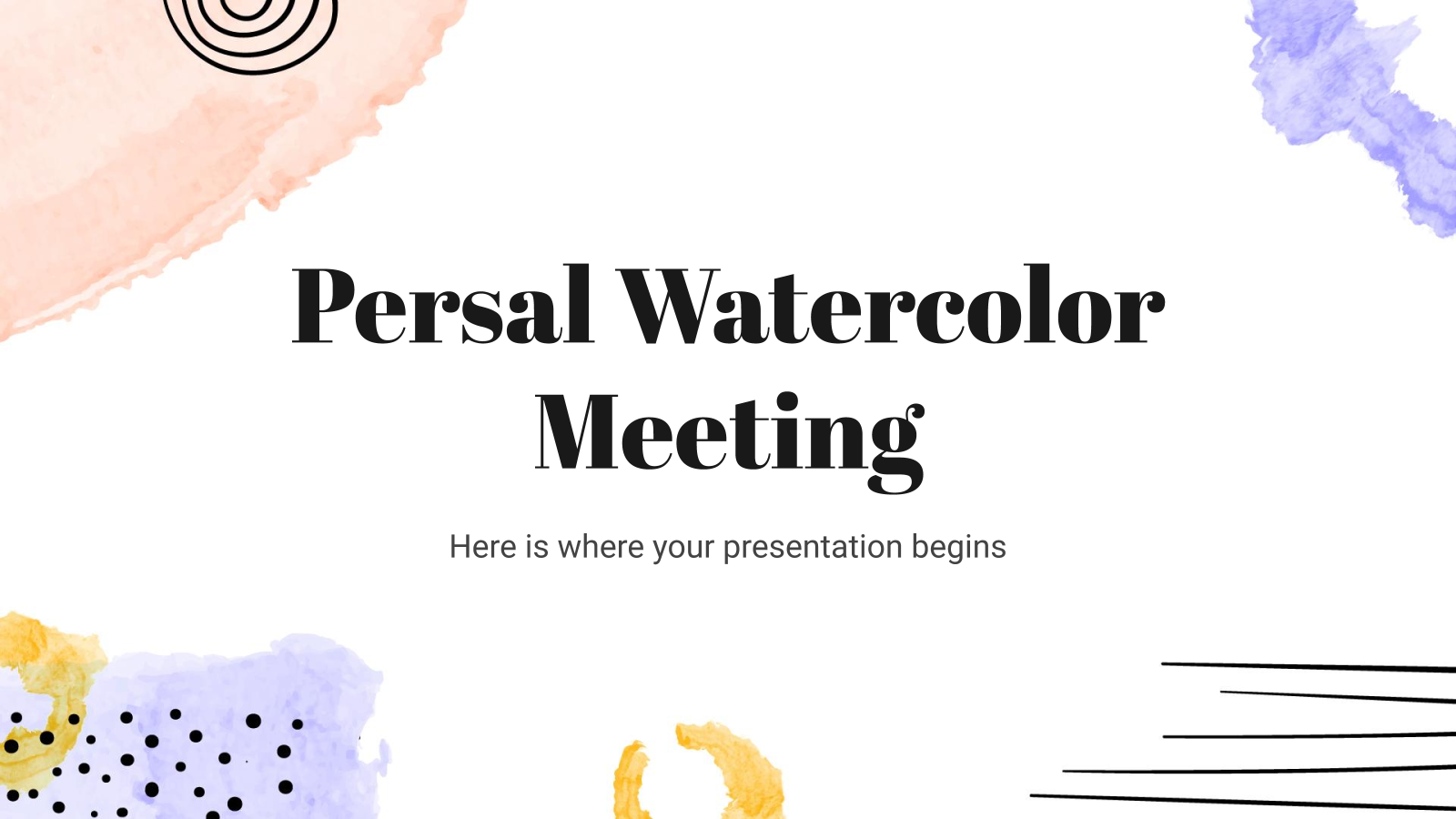 Plantilla de presentación Diseño con acuarelas para reuniones