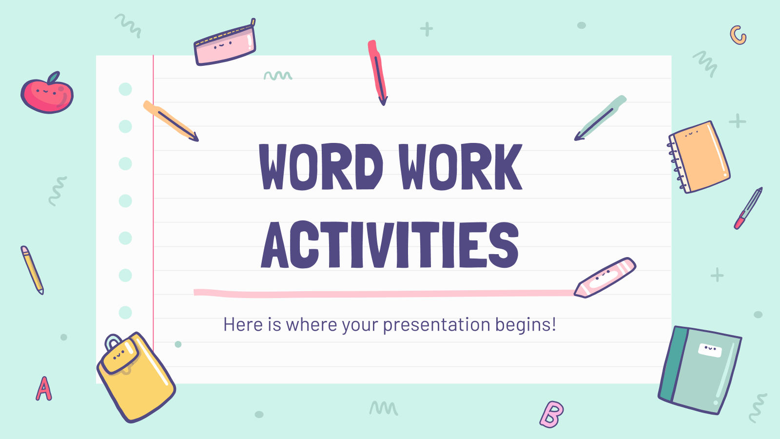 Word Work Activities presentation template
