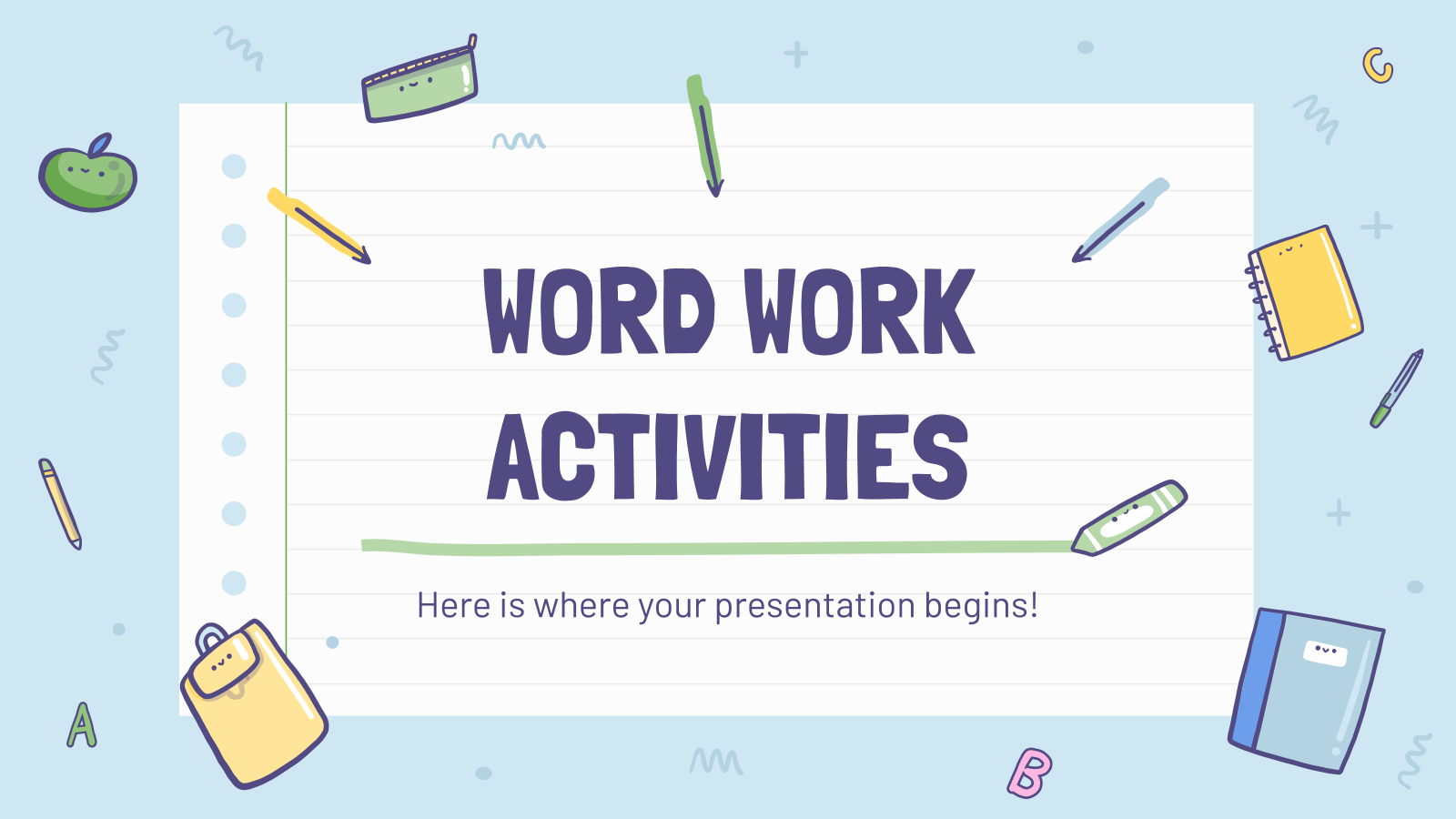 Activités de travail sur les mots : Modèles de présentation