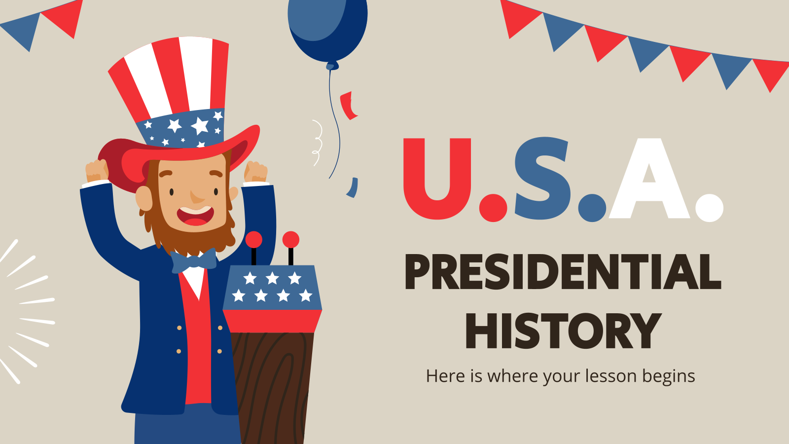 USA Presidential History presentation template