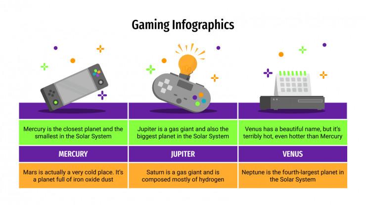 Plantilla de presentación Infografías de gaming
