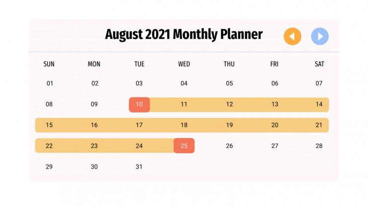 August 2021 Planner Infographics presentation template