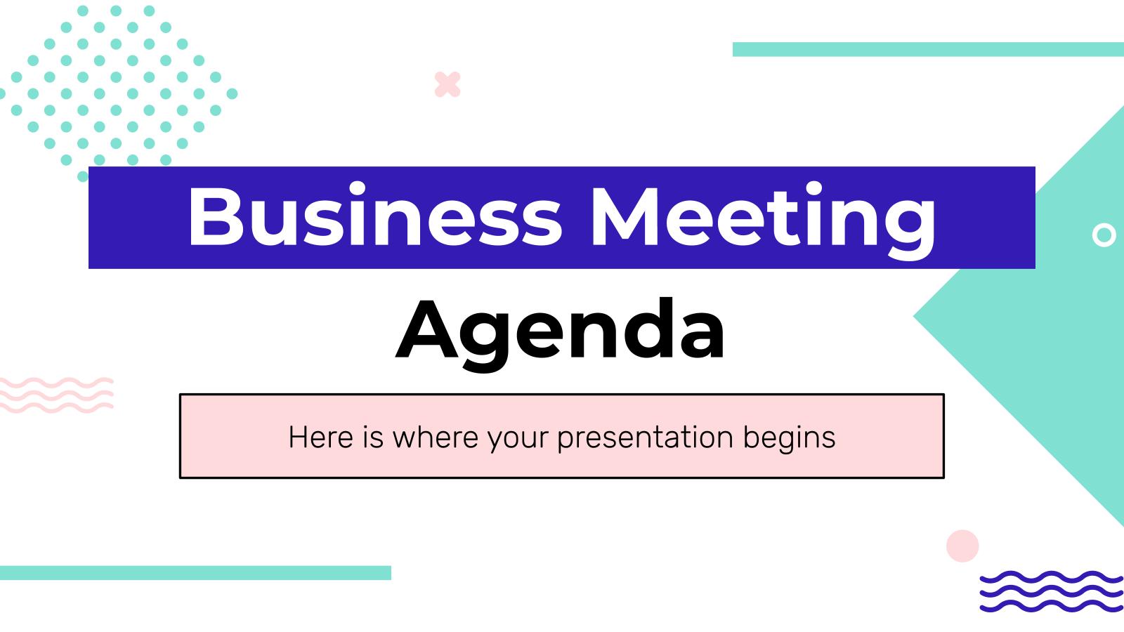 Plantilla de presentación Orden del día de la reunión