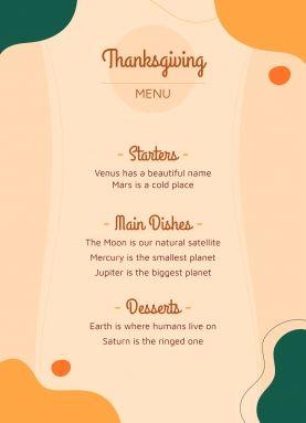 Menu de Thanksgiving A4 : Modèles de présentation