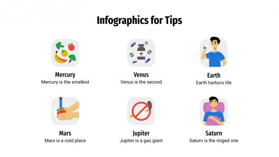 Infografiken für Tipps Präsentationsvorlage