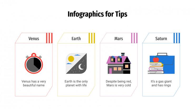 Plantilla de presentación Infografías para tips y consejos