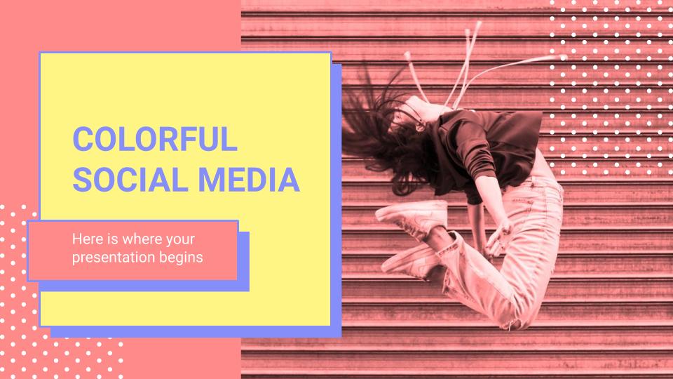 Plantilla de presentación Redes sociales y mucho color
