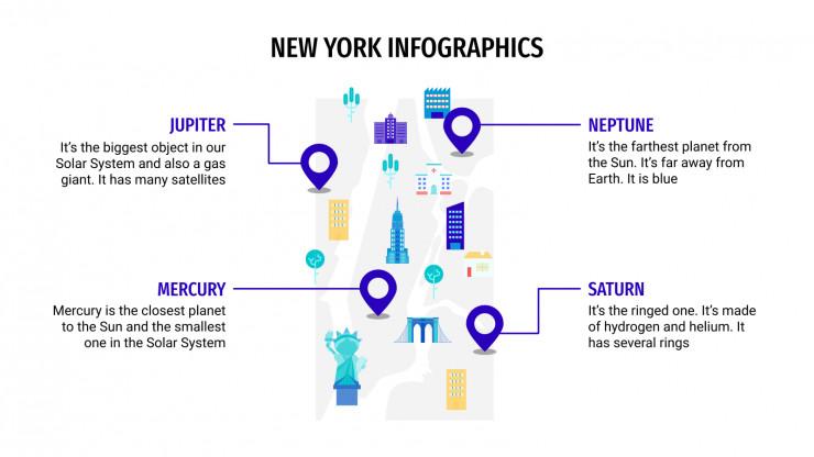 Modelo de apresentação Infográficos de Nova York