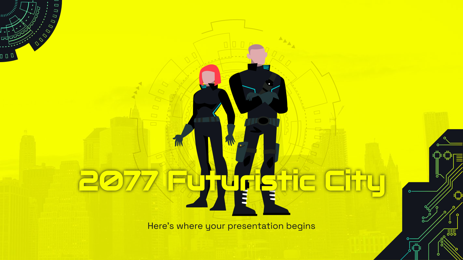 Plantilla de presentación Ciudad futurista del 2077