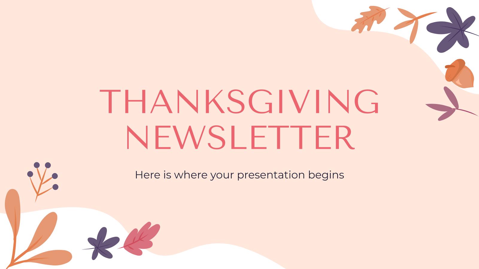 Modelo de apresentação Newsletter de Ação de Graças