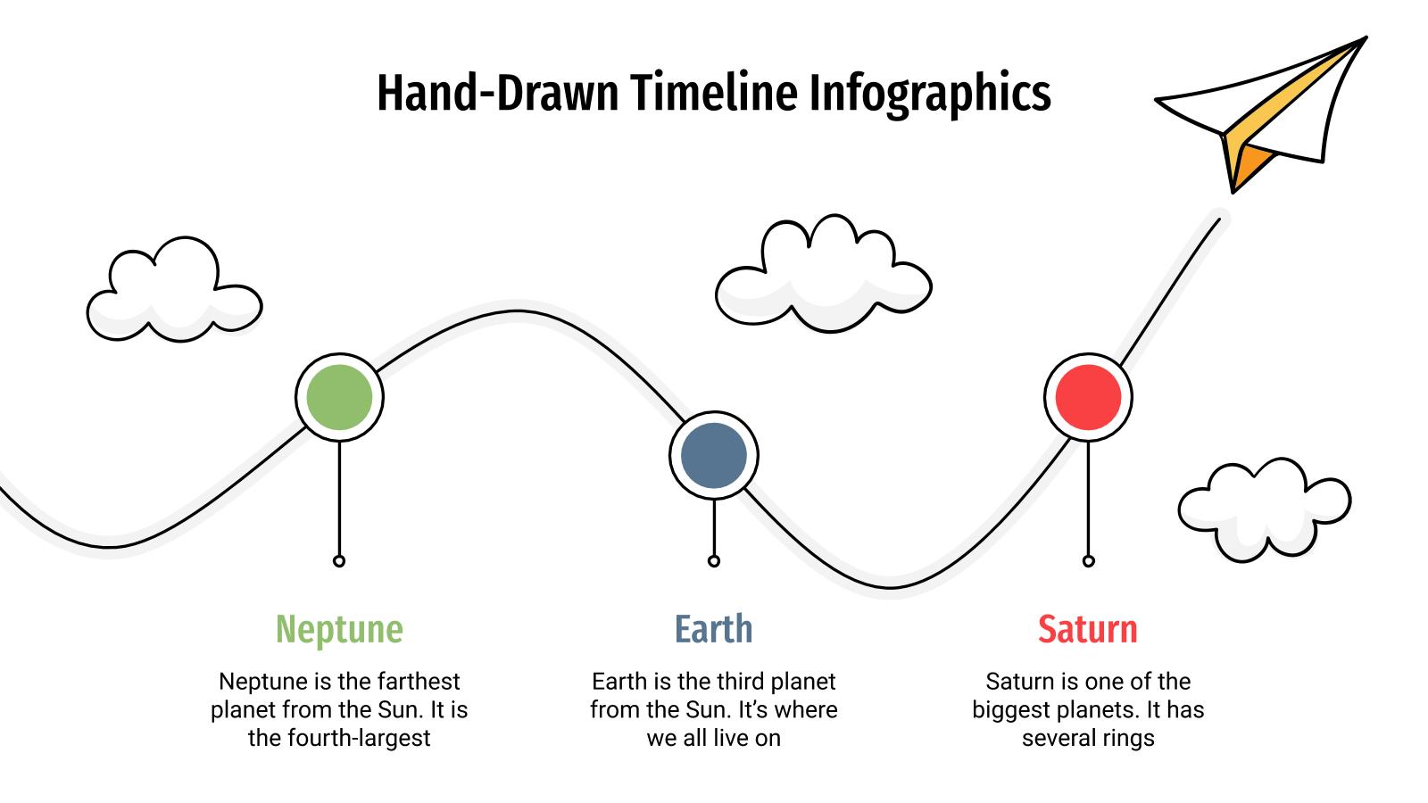 Modelo de apresentação Infográficos de linhas do tempo feitas à mão
