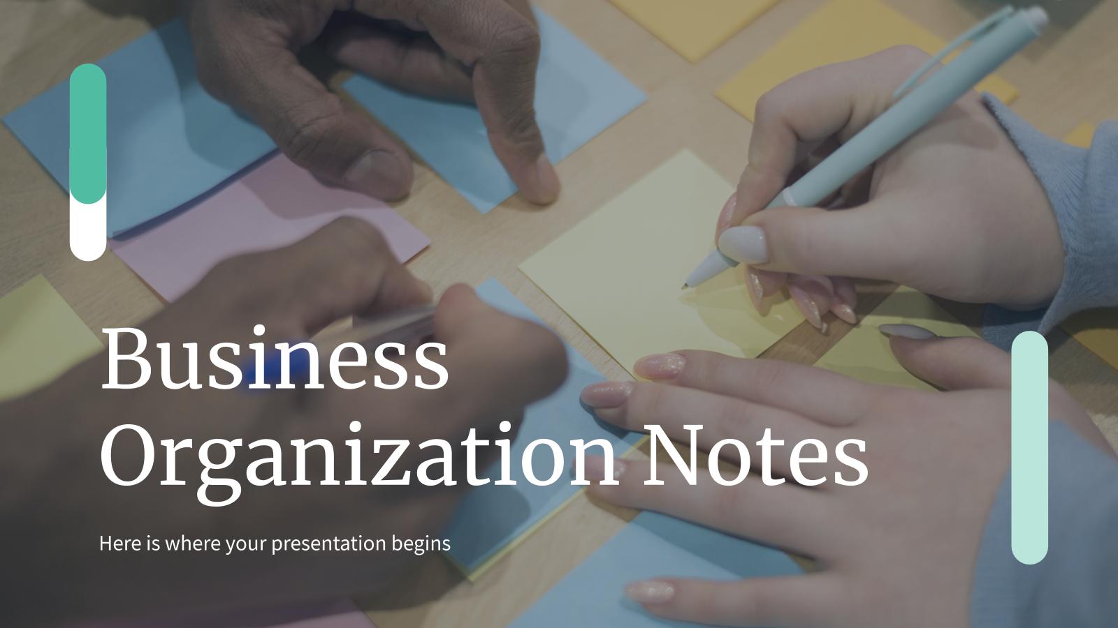 Plantilla de presentación Notas para organizarse en un negocio