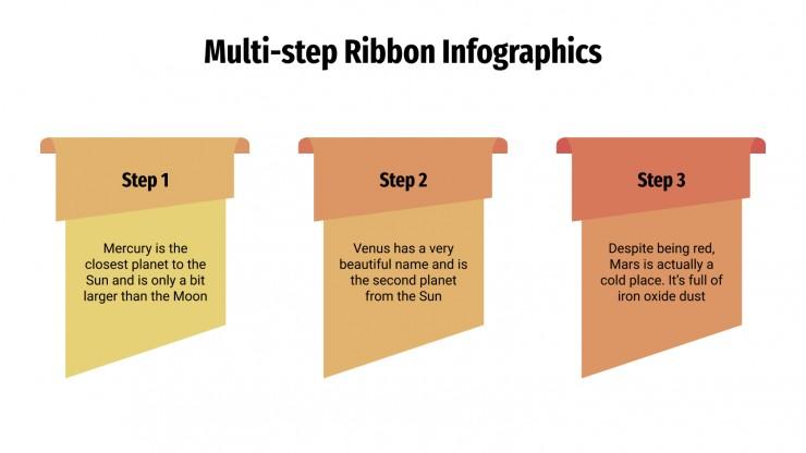 Plantilla de presentación Infografías multipasos con ribetes