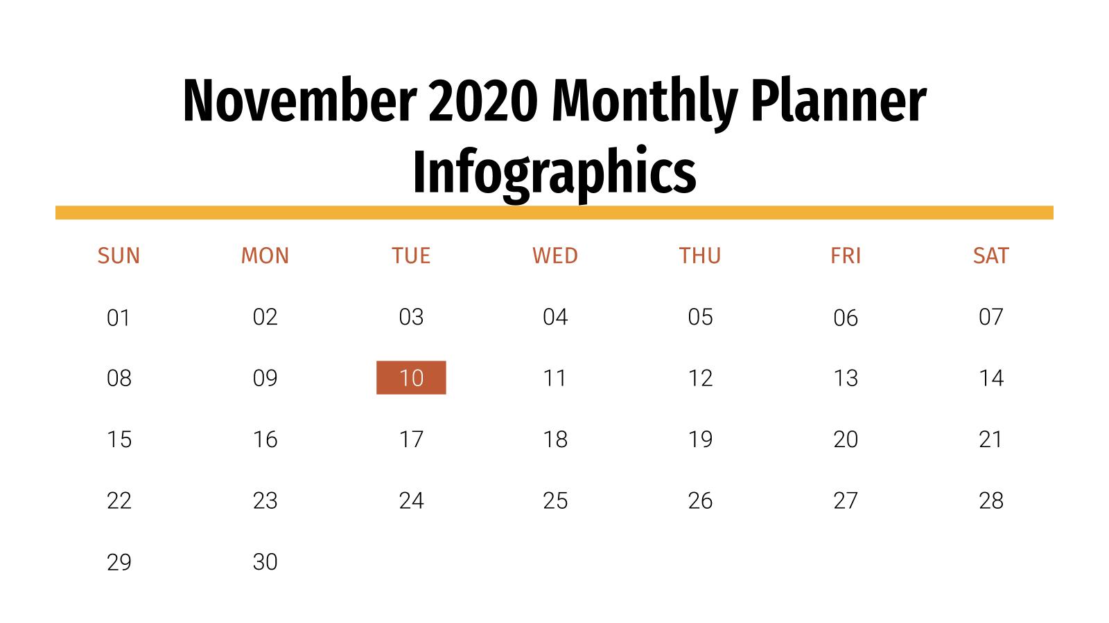 Plantilla de presentación Agenda para noviembre 2020