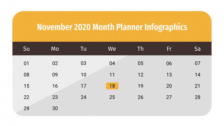 November 2020 Monthly Planner Infographics presentation template