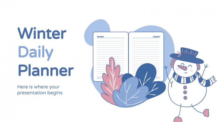 Plantilla de presentación Agenda diaria invernal