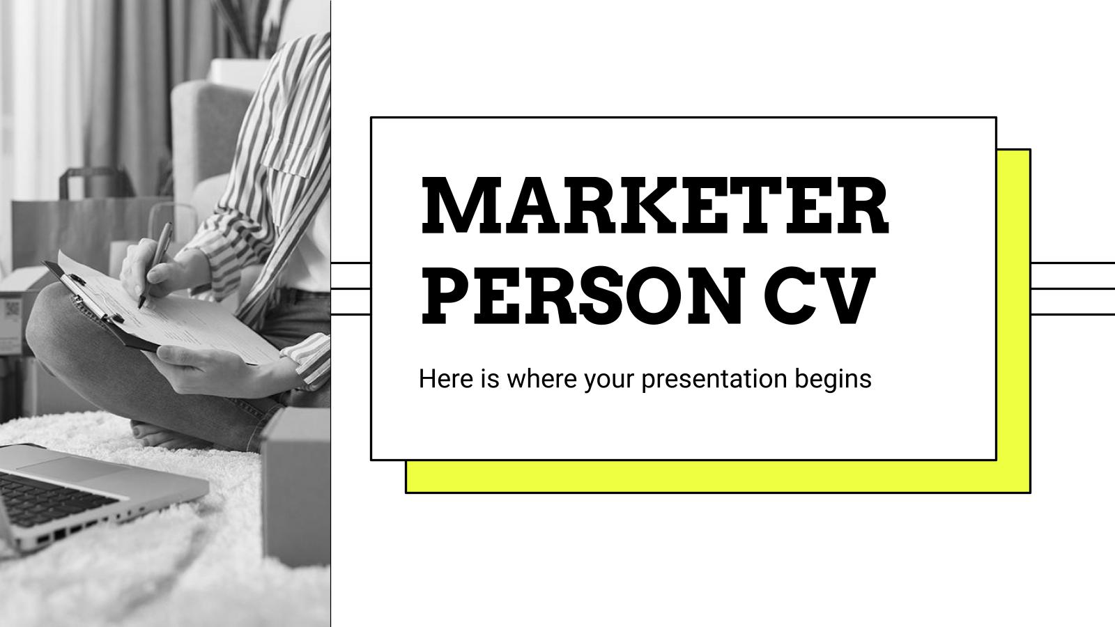 Marketer Person CV presentation template
