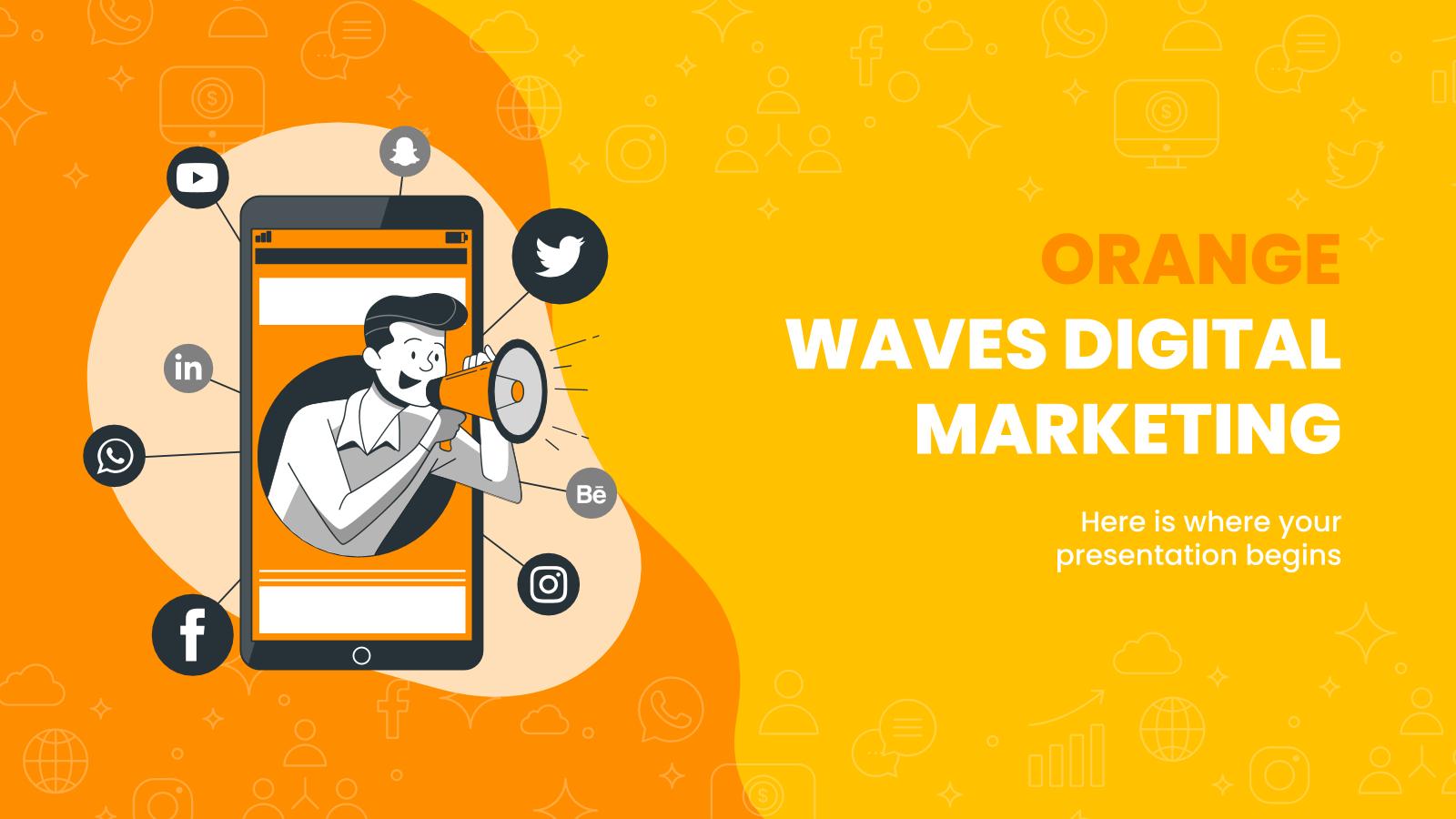 Plantilla de presentación Marketing digital con ondas naranjas