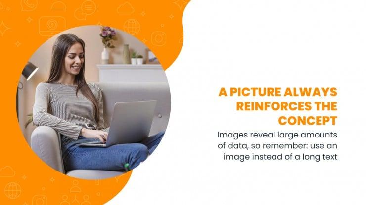 Modelo de apresentação Marketing digital com ondas laranjas