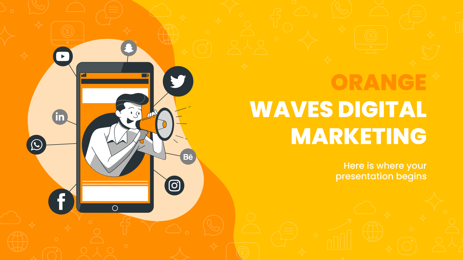 Orange Waves Digital Marketing presentation template