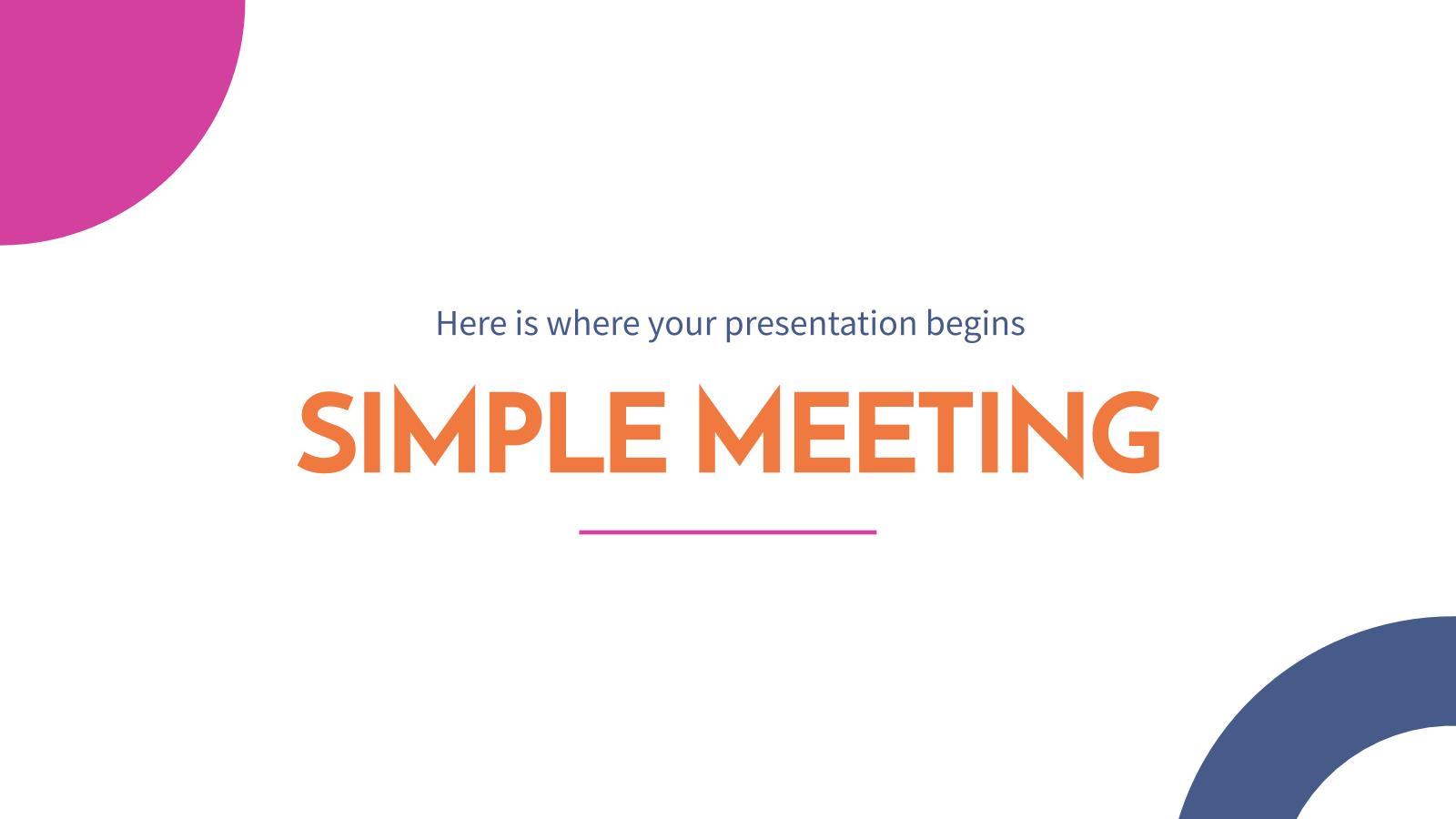 Plantilla de presentación Diseño sencillo para reuniones