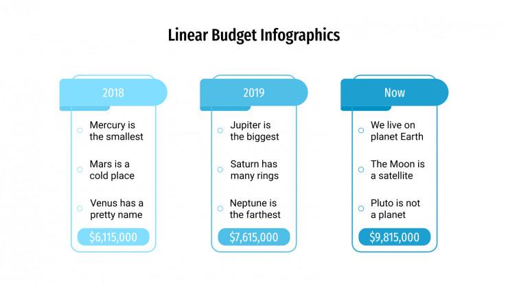Linear Budget Infographics presentation template