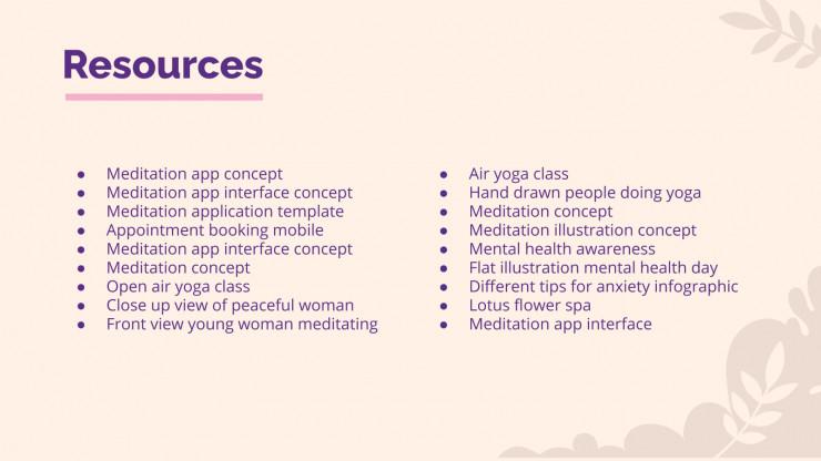 Plantilla de presentación Pitch deck para app de meditación