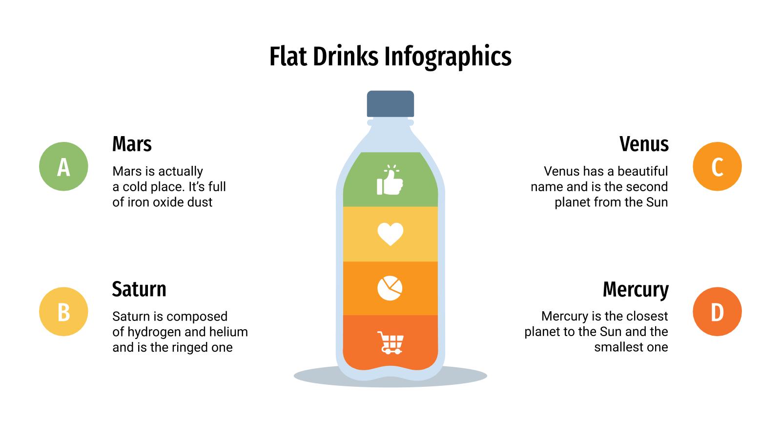Plantilla de presentación Infografías flat de bebidas