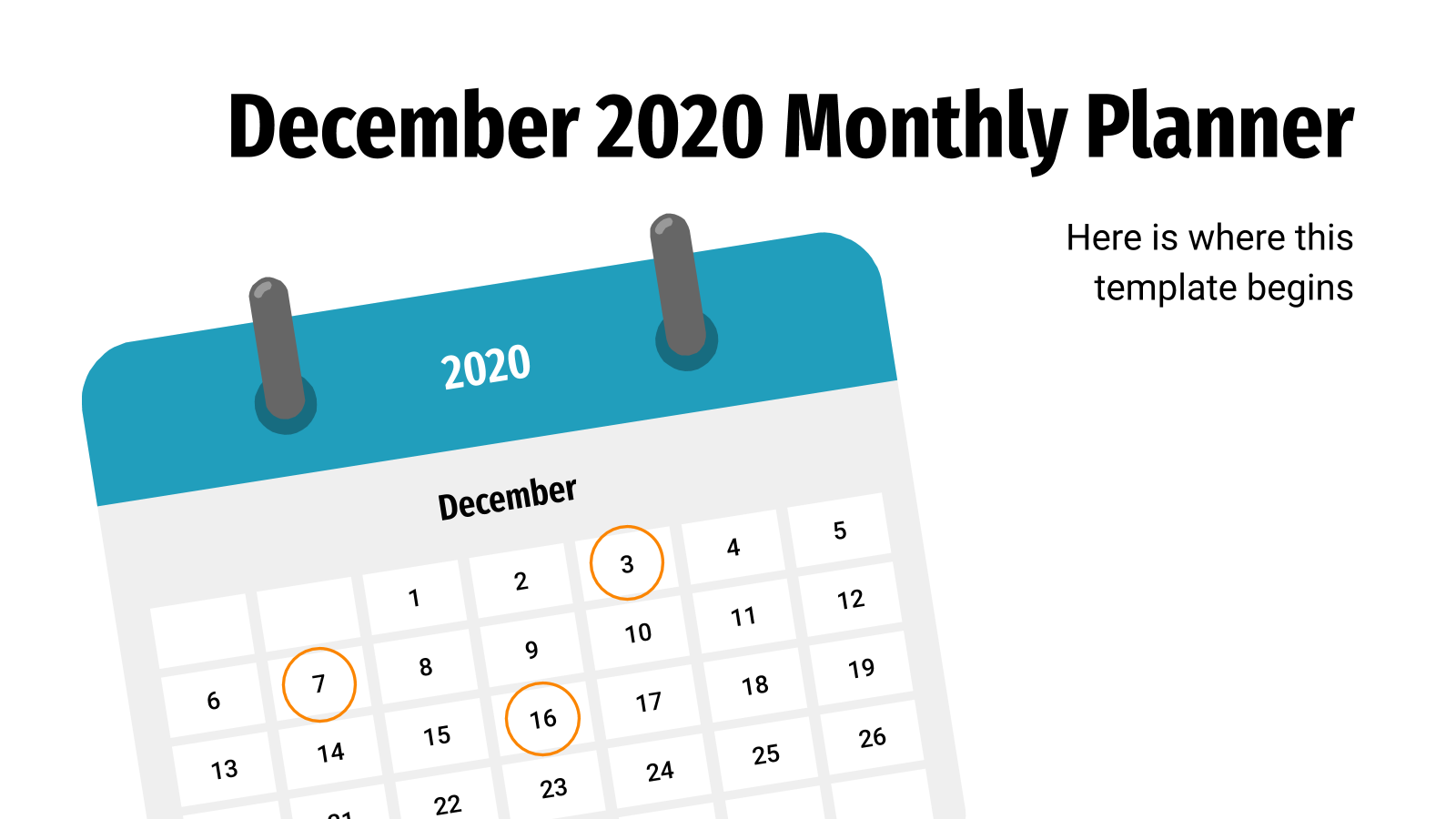 December Monthly Planner Infographics presentation template