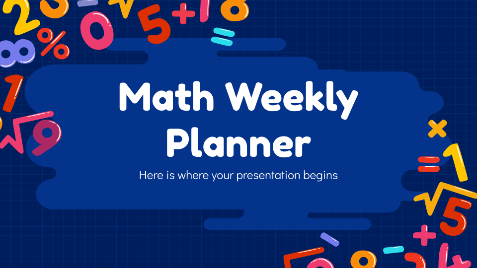 Maths Weekly Planner presentation template