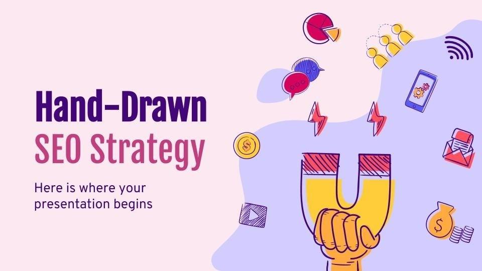Modelo de apresentação Estratégia de SEO feita à mão