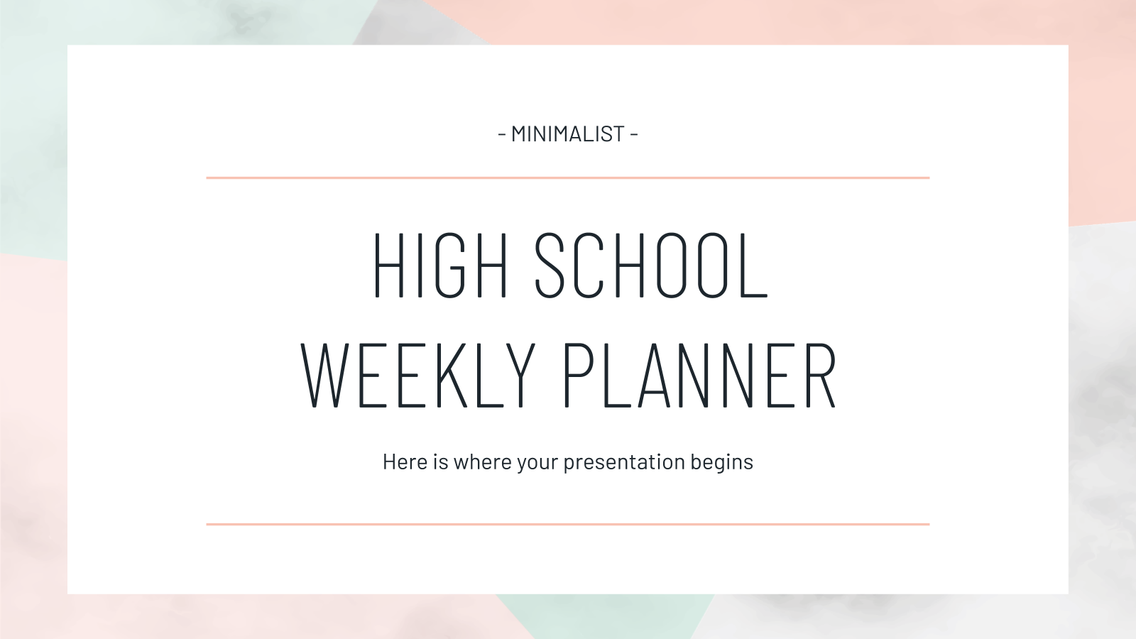 Plantilla de presentación Agenda semanal minimalista