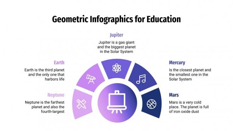 Modelo de apresentação Infográficos geométricos para a educação