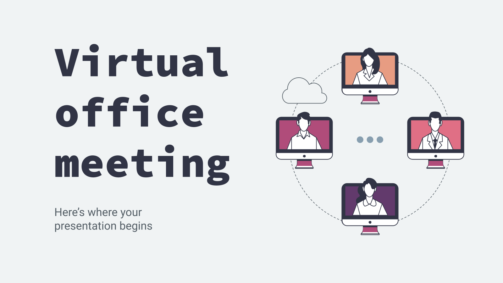Virtual office meeting presentation template