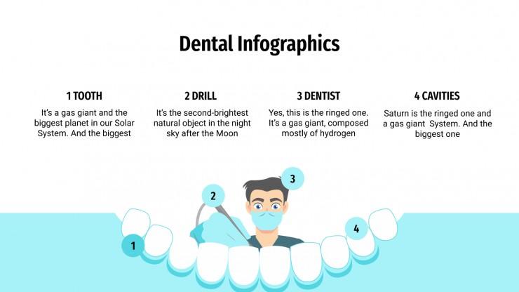 Modelo de apresentação Infográficos odontológicos