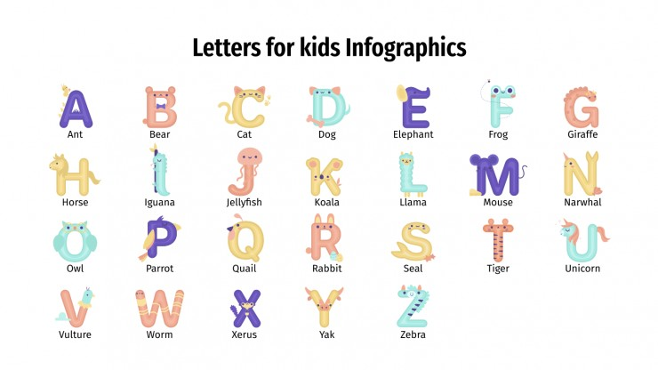 Letters for kids infographics presentation template
